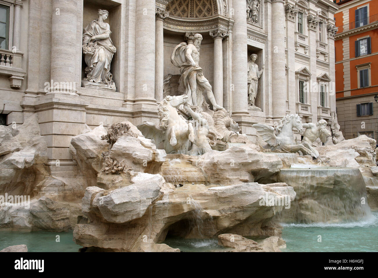The most famous fountain in the world - the Trevi Fountain in Rome Italy - Stock Image