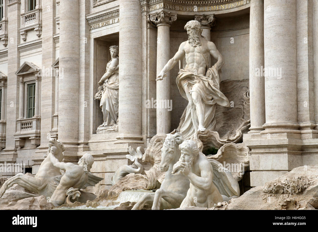 Detail of the world famous Trevi Fountain Rome Italy - Stock Image