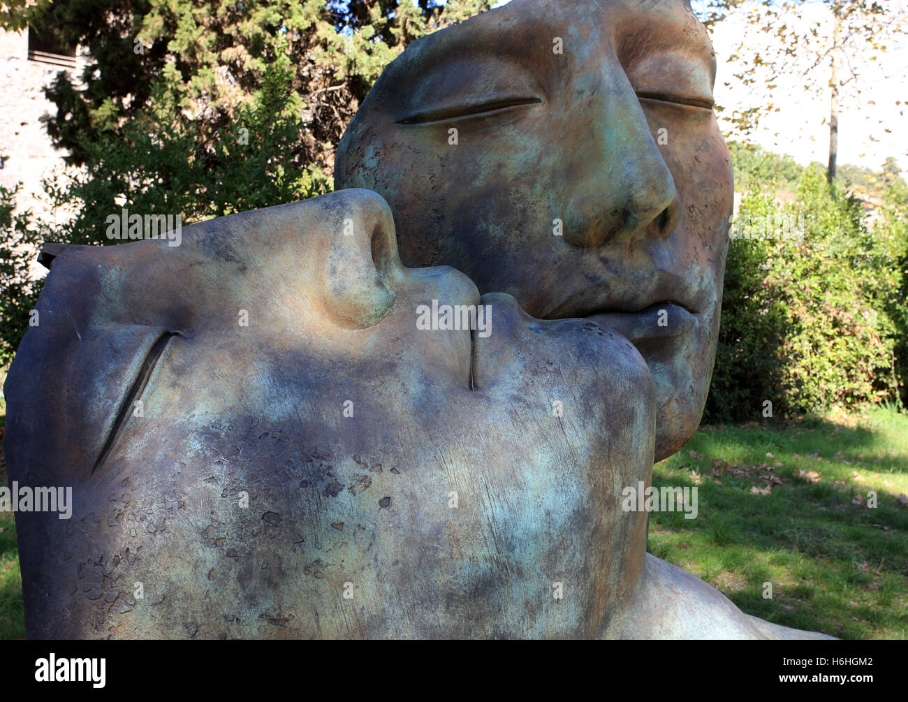Modern sculptures  by Igor Mitoraj on show at the ancient site of Pompeii near Naples Italy Stock Photo