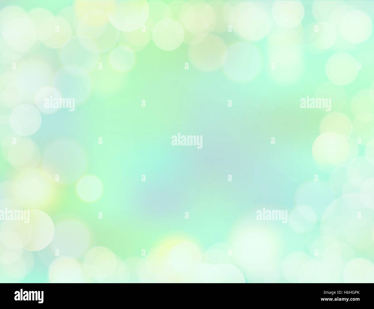 8K resolutions gradient mint green blank paper background with bokeh border - Stock Image