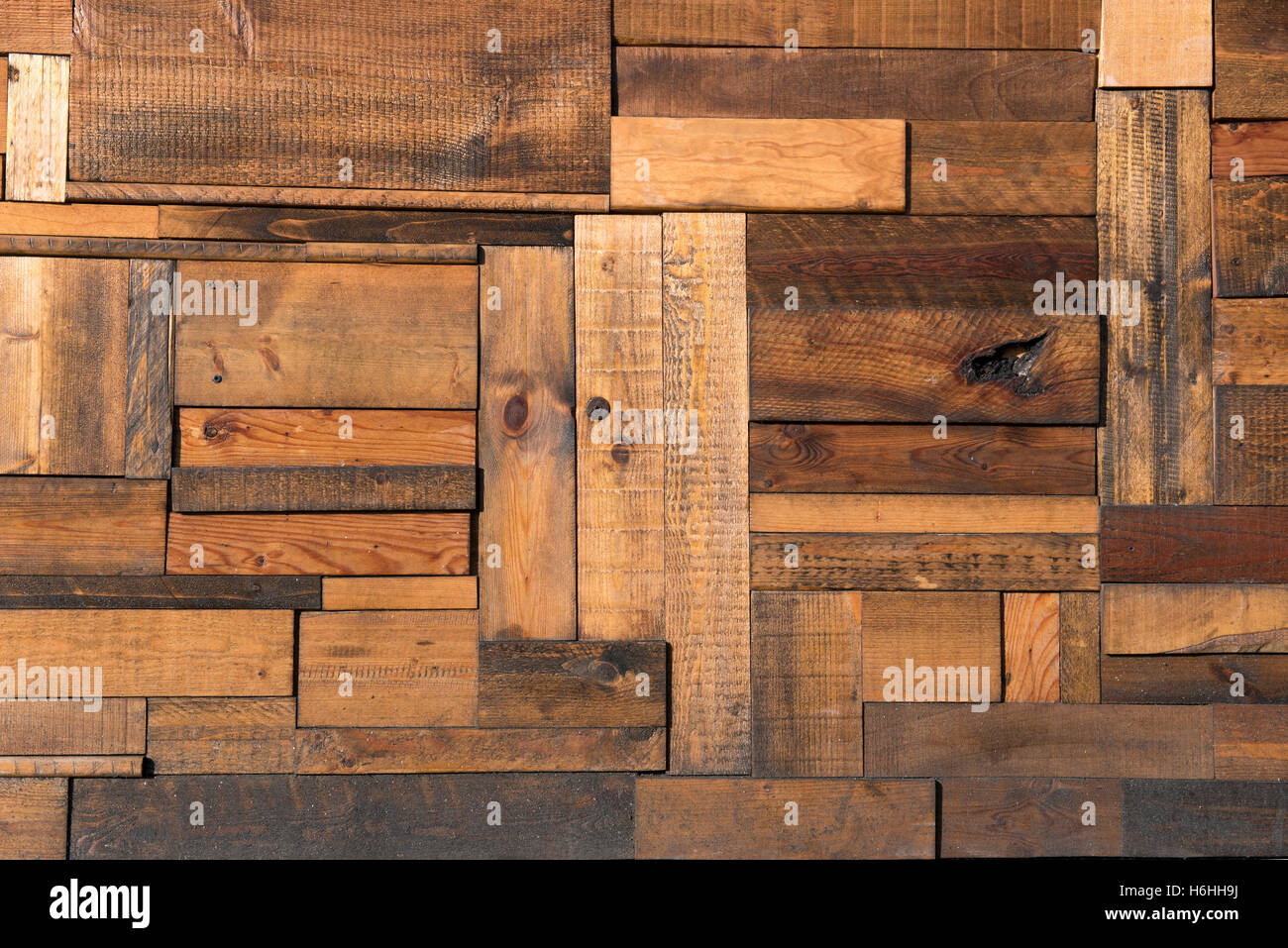 Background created from overhead view of floor composed of aged wooden planks - Stock Image