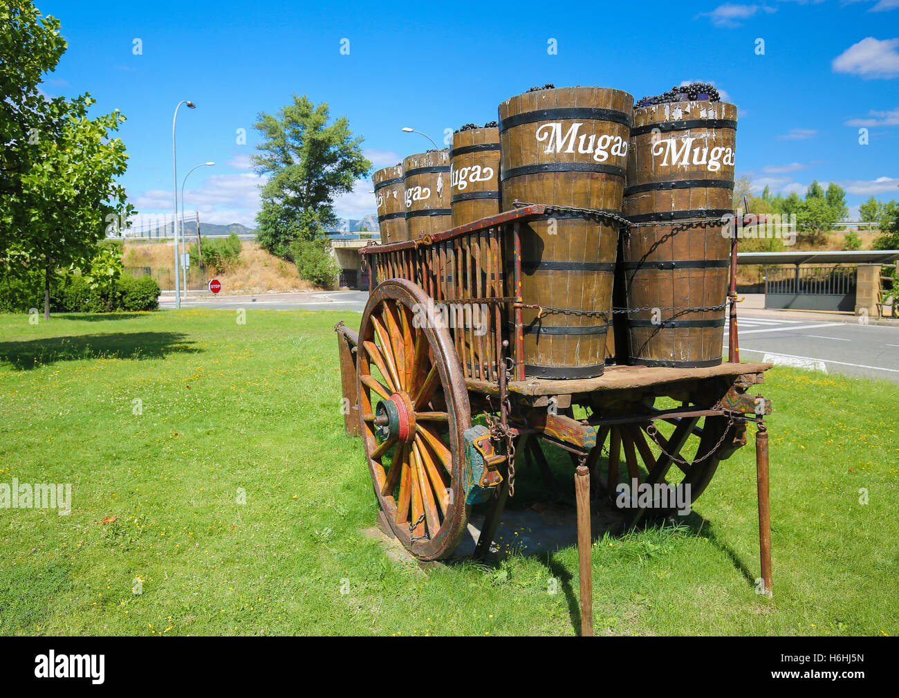 Wooden cart with grapes at Bodegas Muga, a Spanish winery based in Haro, in the Rioja Alta region. - Stock Image