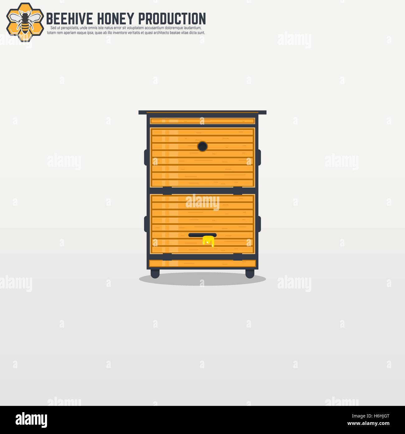 Yellow wooden modern frame beehive with honey. Flat thick line and black outline flat style illustration. For honey - Stock Vector