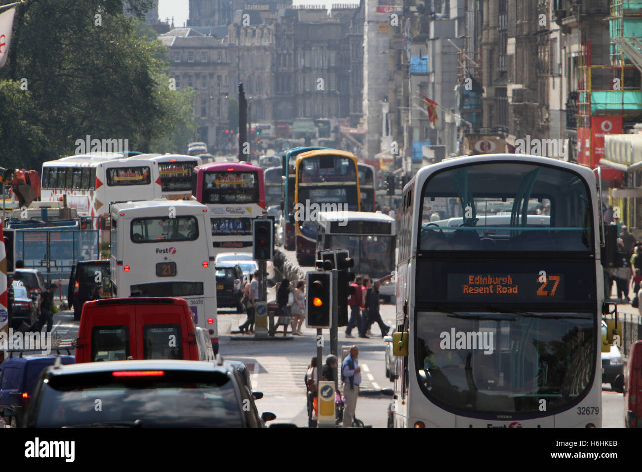 Traffic congestion in Edinburgh showing Princes Street - Stock Image