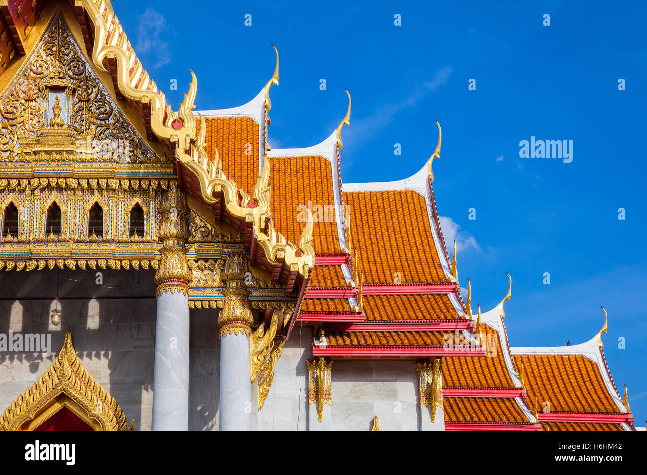 Wat Benchamabophit also known as Marble Temple at sunset in Bangkok, Thailand. - Stock Image