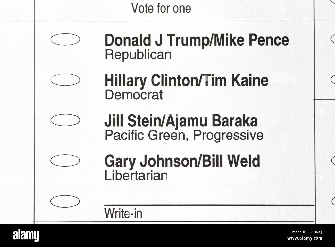 2016 American presidential election ballot. - Stock Image