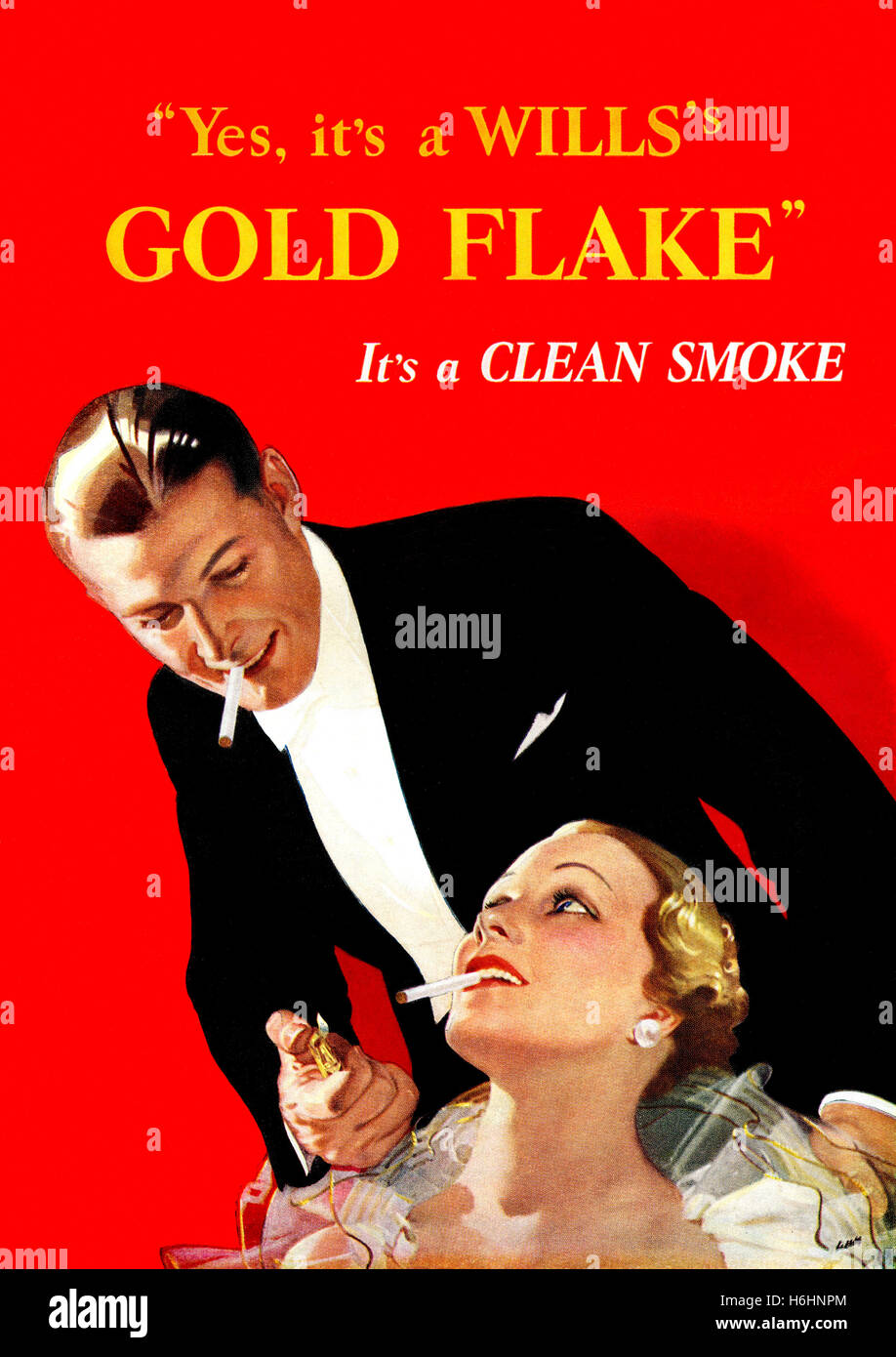 1937 British advertisement for Wills Gold Flake cigarettes - Stock Image