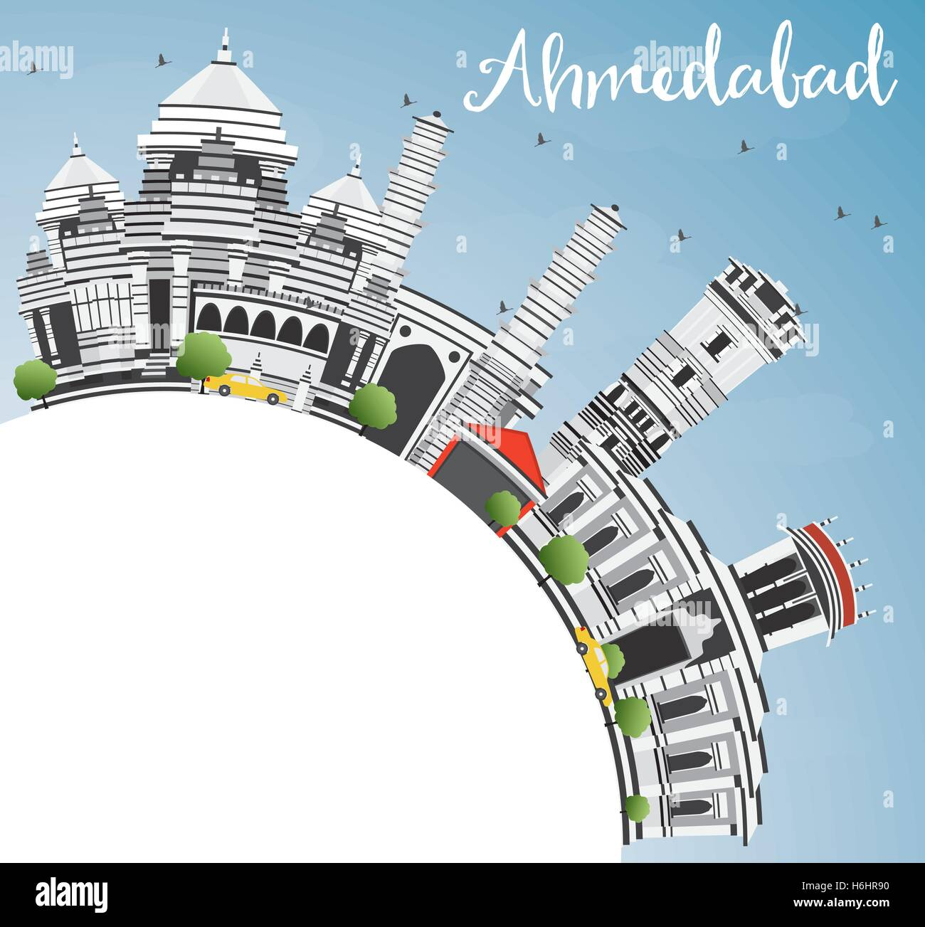 Ahmedabad Skyline with Gray Buildings, Blue Sky and Copy Space. Vector Illustration. Business Travel and Tourism - Stock Vector