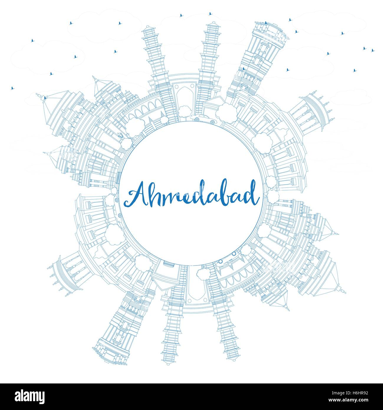 Outline Ahmedabad Skyline with Blue Buildings and Copy Space. Vector Illustration. Business Travel and Tourism Concept - Stock Vector