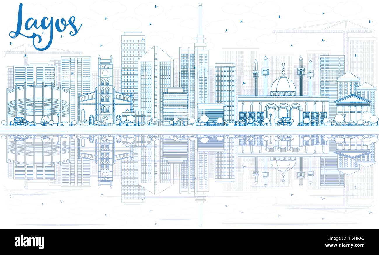 Outline Lagos Skyline with Blue Buildings and Reflections. Vector Illustration. Business Travel and Tourism Concept - Stock Image