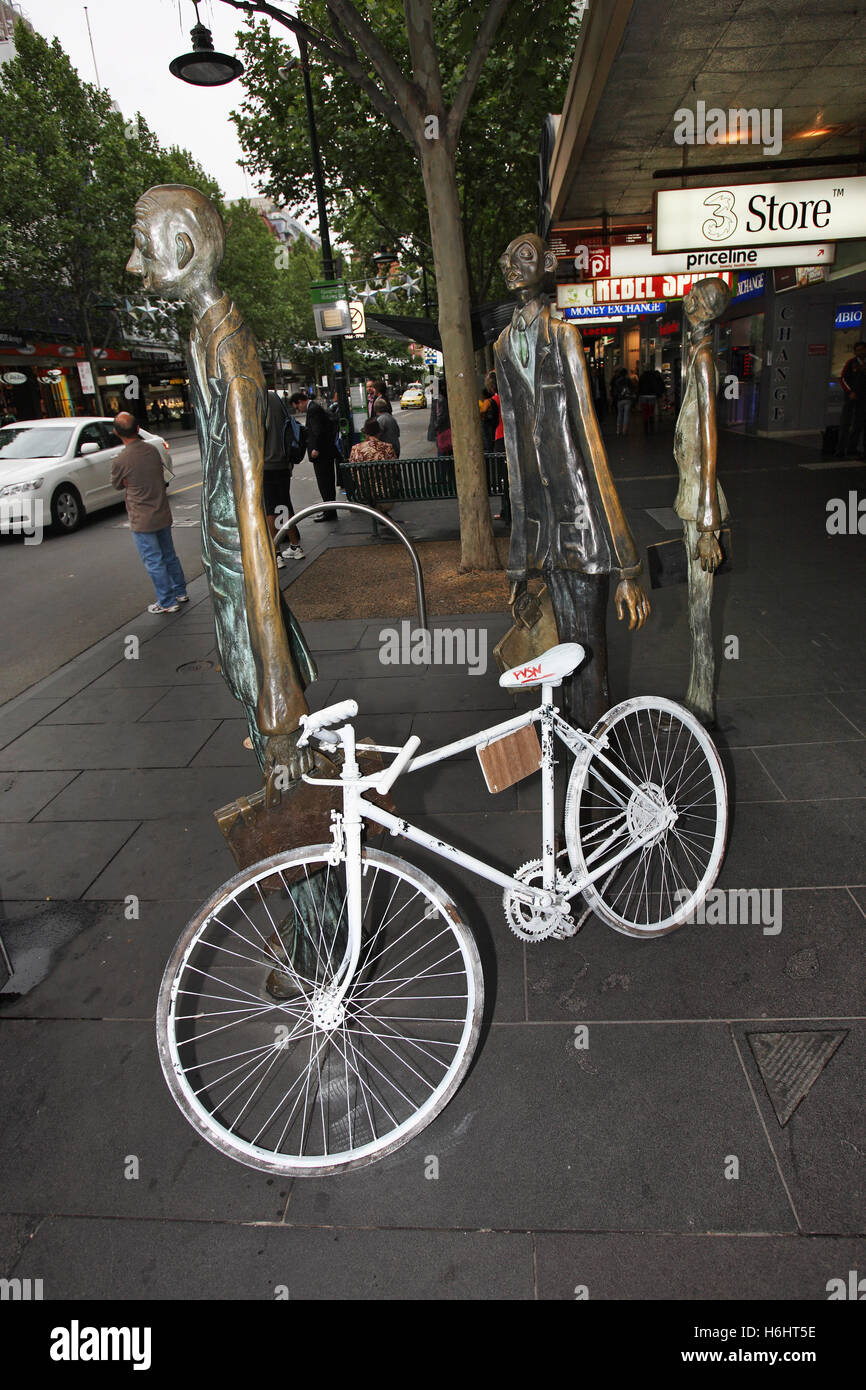 Ghost-bike on Bourke Street in Melbourne commemorating Carolyn Rawlins who was killed at this location in 2008. - Stock Image
