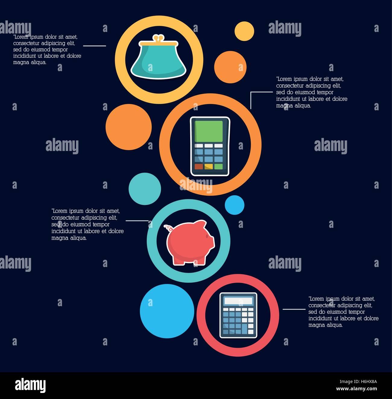 Piggy purse and calculator infographic money financial item piggy purse and calculator infographic money financial item commerce market and payment theme silhouette design vector illust ccuart Images