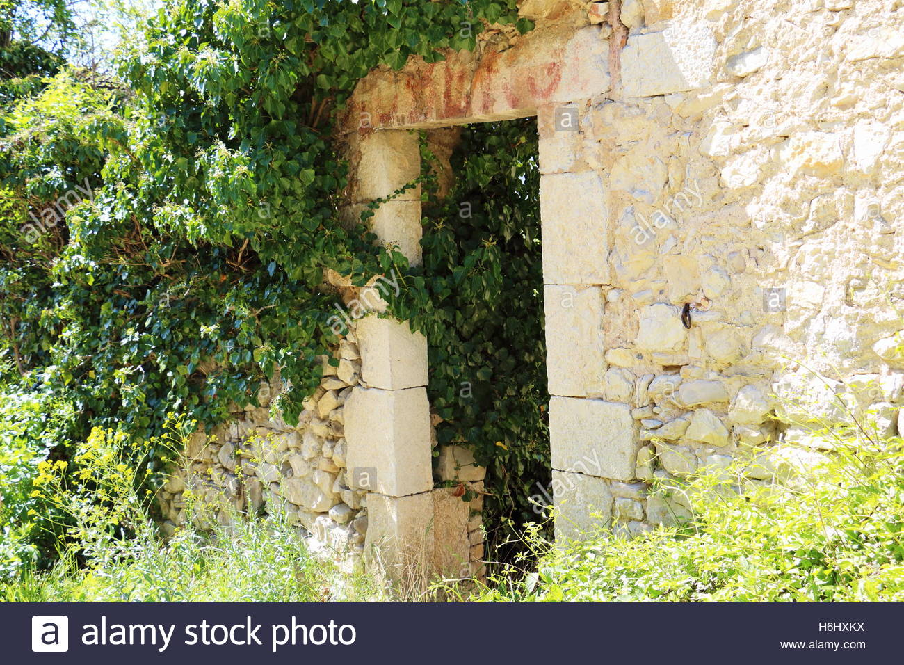 Old uninhabited Village, Decayed Building ,Abandoned place, ancient homes decaying, countryside in southern France Stock Photo