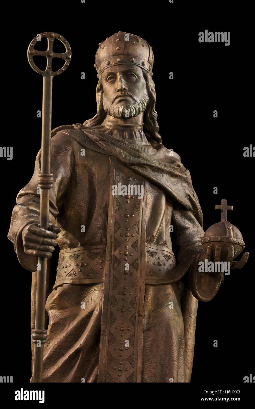 Statue of Emperor Stefan Uros IV Dusan also known as Stefan Dusan the Mighty (1308-1355) in Skopje, Macedonia - Stock Image