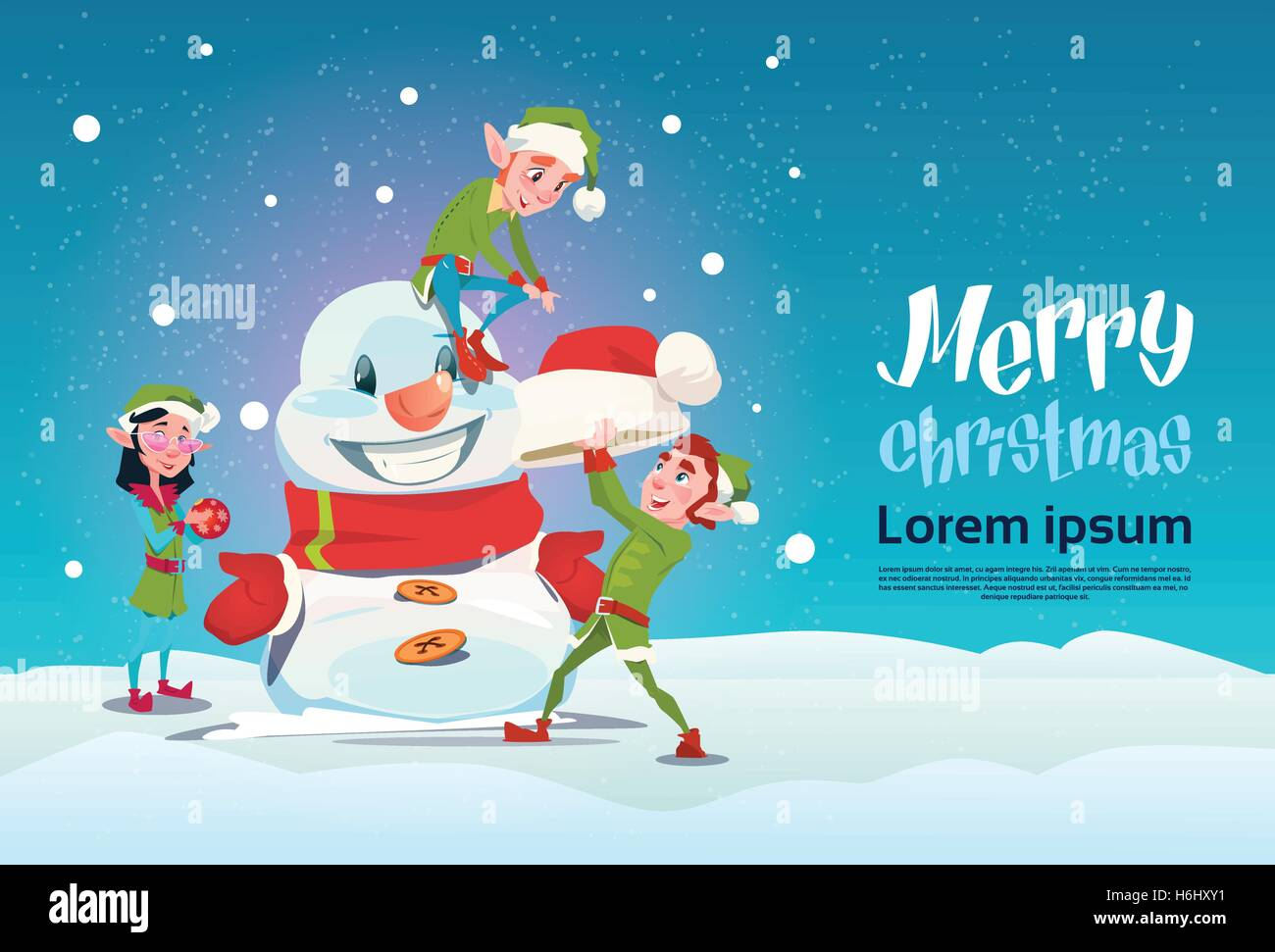 santa green elf group making snowman merry christmas happy new year banner flat vector illustration