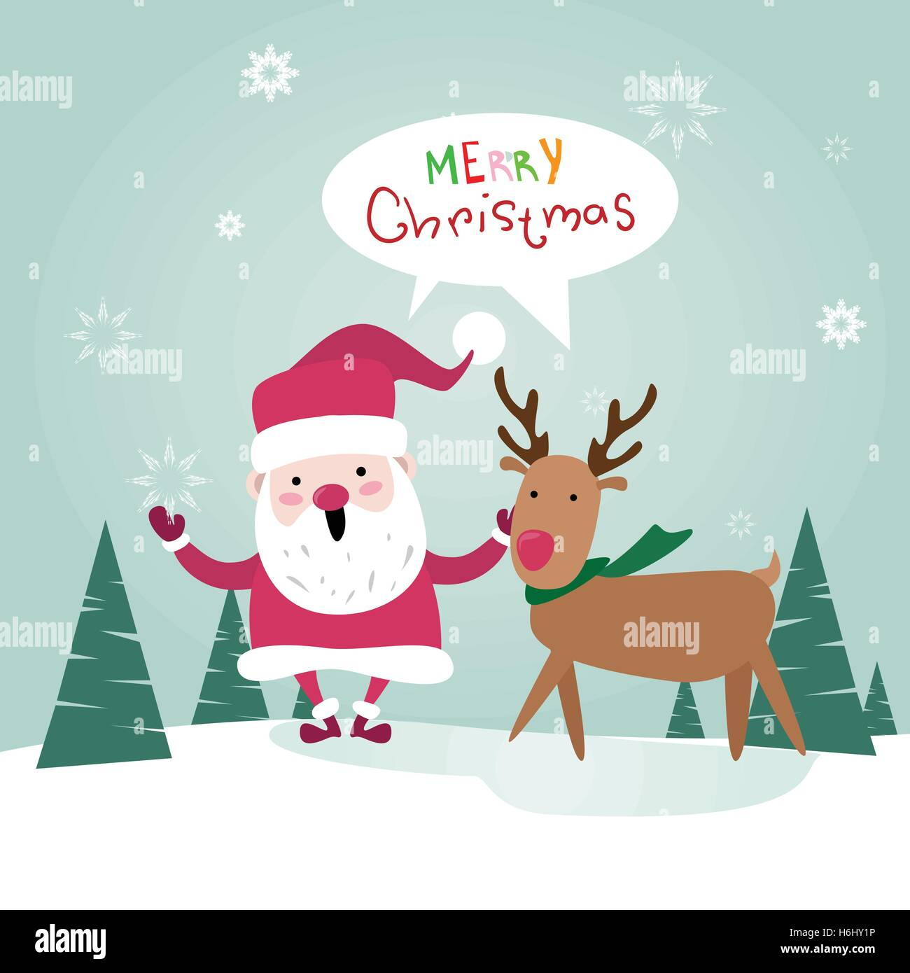 Merry Christmas Santa Clause With Reindeer Happy New Year Poster Greeting Card Flat Vector Illustration - Stock Image