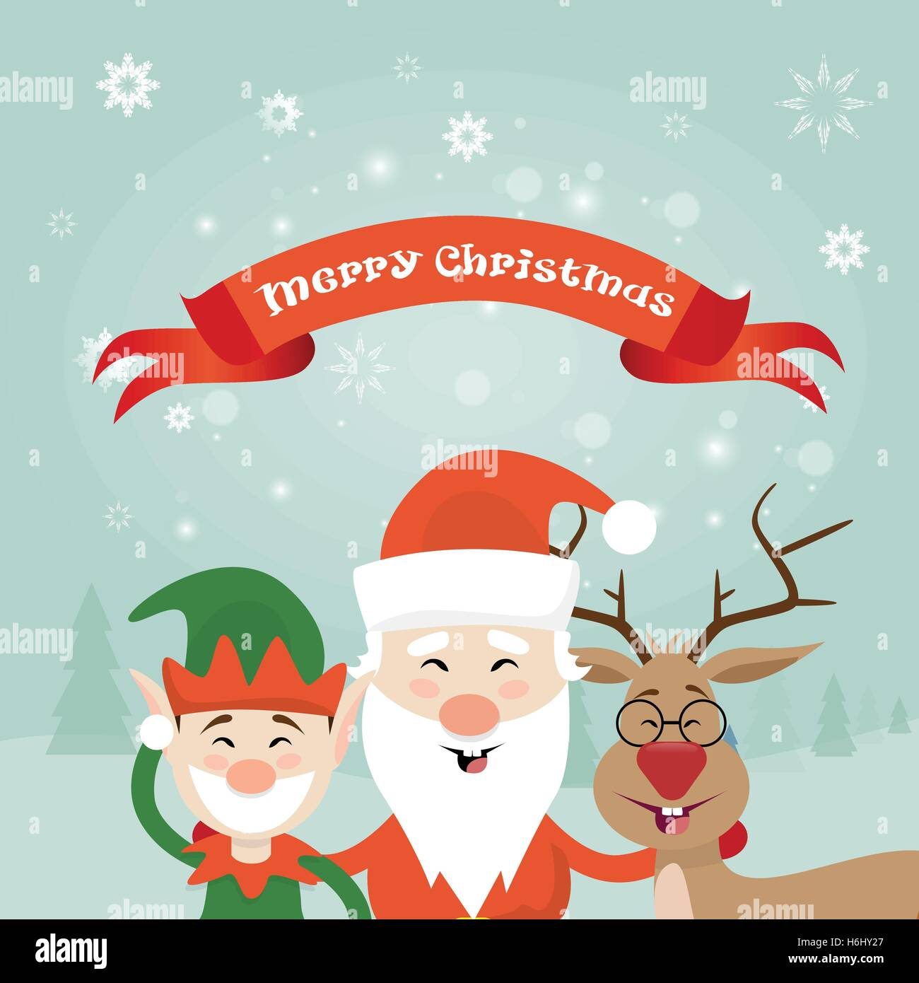 Merry Christmas Santa Clause Reindeer Elf Character Poster Greeting Card Flat Vector Illustration - Stock Image
