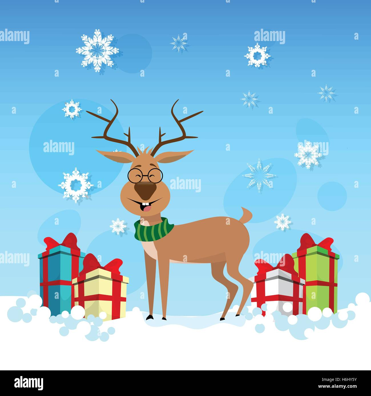 Smiling Christmas Reindeer With Holiday Present Boxes Happy New Year Celebration Banner Flat Vector Illustration - Stock Image