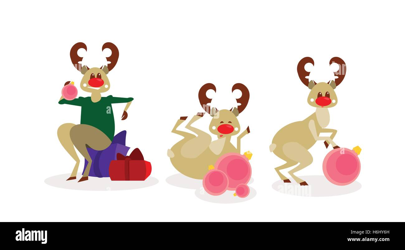 Christmas Reindeer Group Isolated Happy New Year Celebration Cartoon Characters Flat Vector Illustration - Stock Image