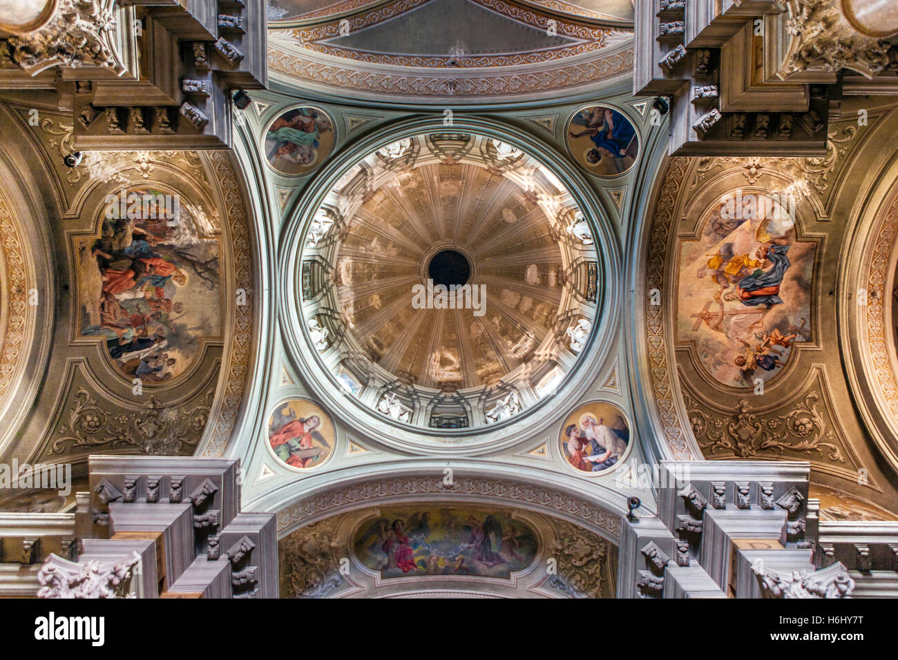 Ornate ceiling of the church of Saint John the Baptist in Bra, a city in the Piedmont region of northern Italy. - Stock Image