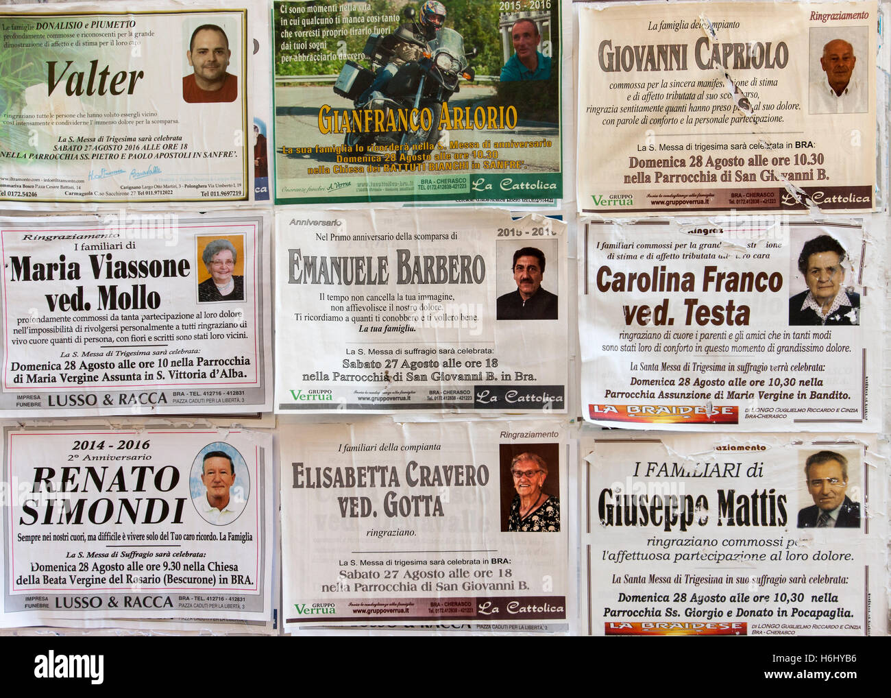 Death notices in Bra, a city in the Piedmont region of northern Italy. - Stock Image