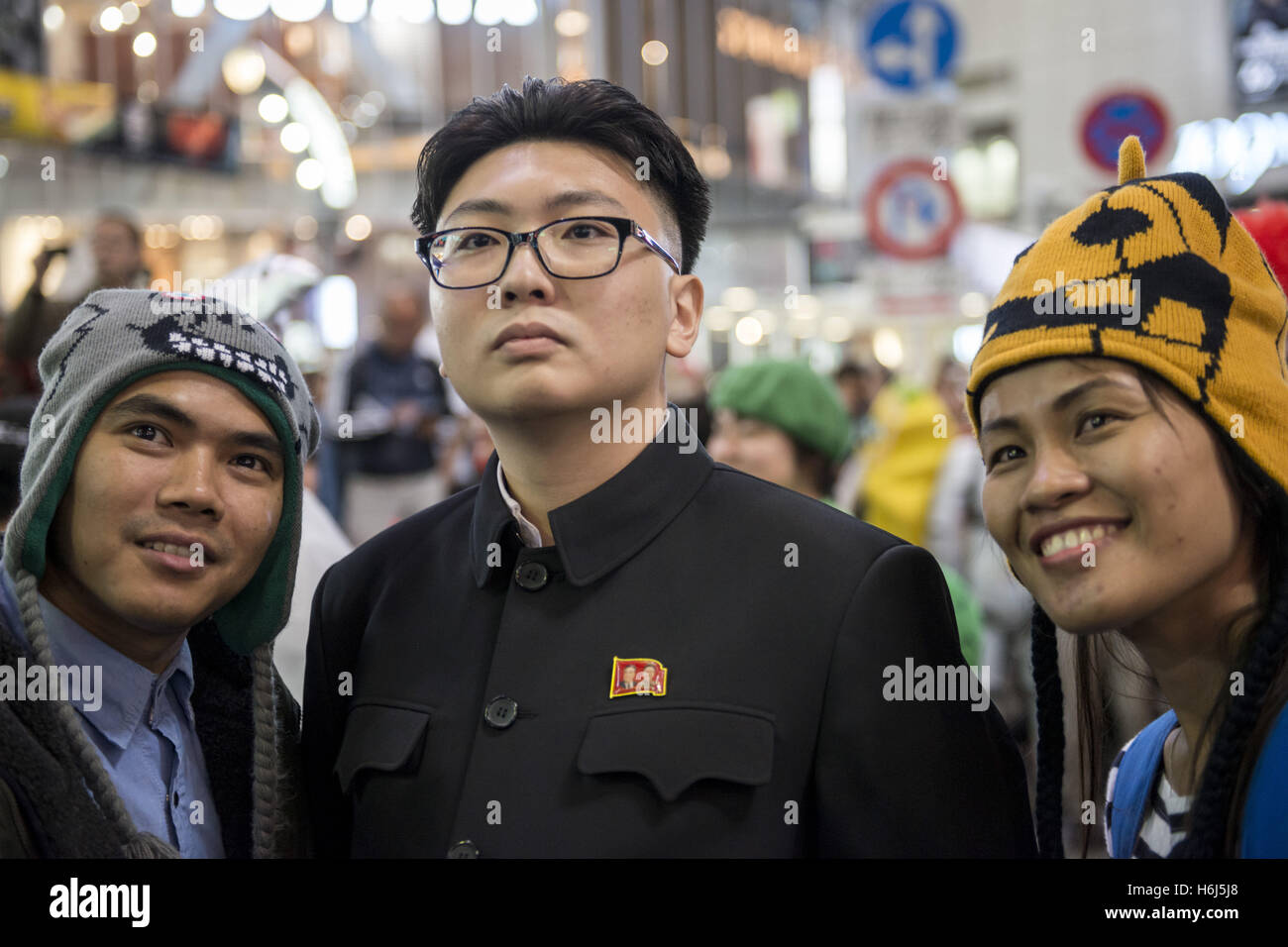 Tokyo, Japan. 29th Oct, 2016. The double of Kim Jong-un during Halloween at Tokyo's Shibuya famous scramble - Stock Image