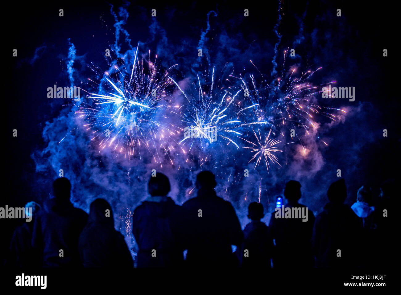 York, UK. 29th October, 2016. North Yorkshire's biggest fireworks party, KABOOM, took place in the grounds of Castle - Stock Image