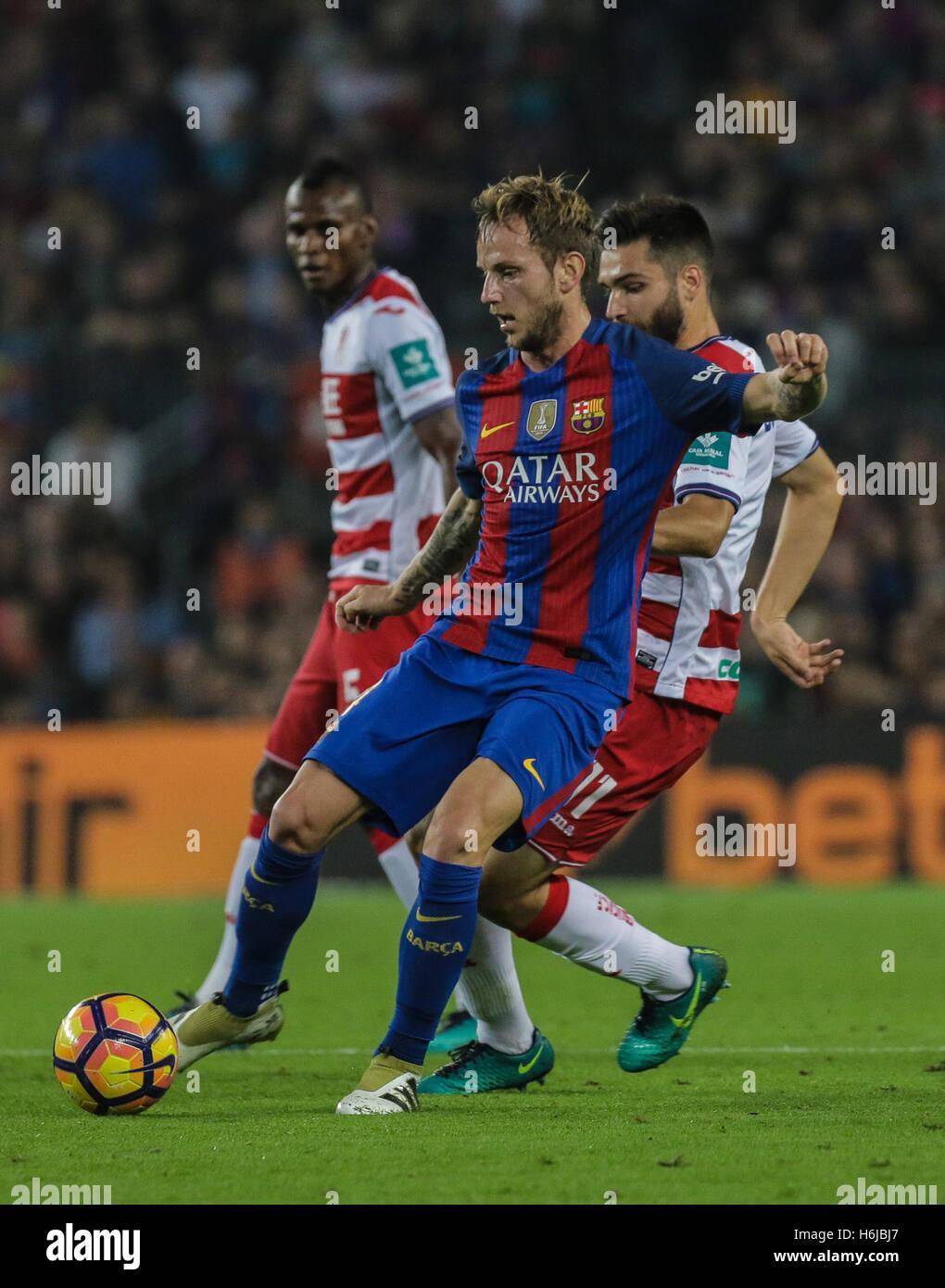 Rakitic kicks the ball. FC Barcelona defeated Granada 1-0 with goal scored by Rafinha at the 47th minute. Liga Santander - Stock Image