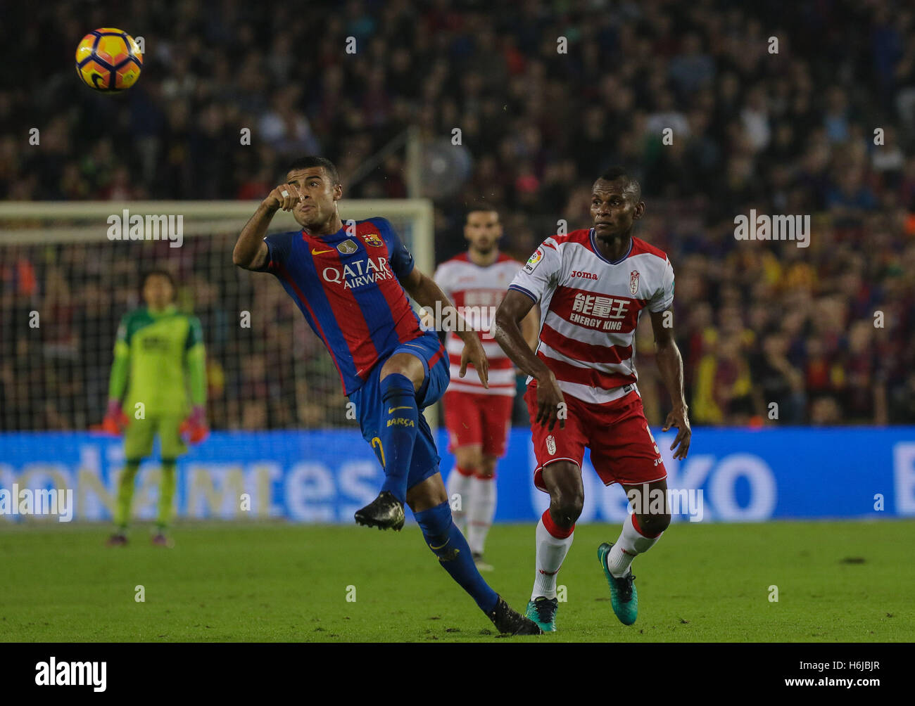 Rafinha kicks the ball. FC Barcelona defeated Granada 1-0 with goal scored by Rafinha at the 47th minute. Liga Santander - Stock Image