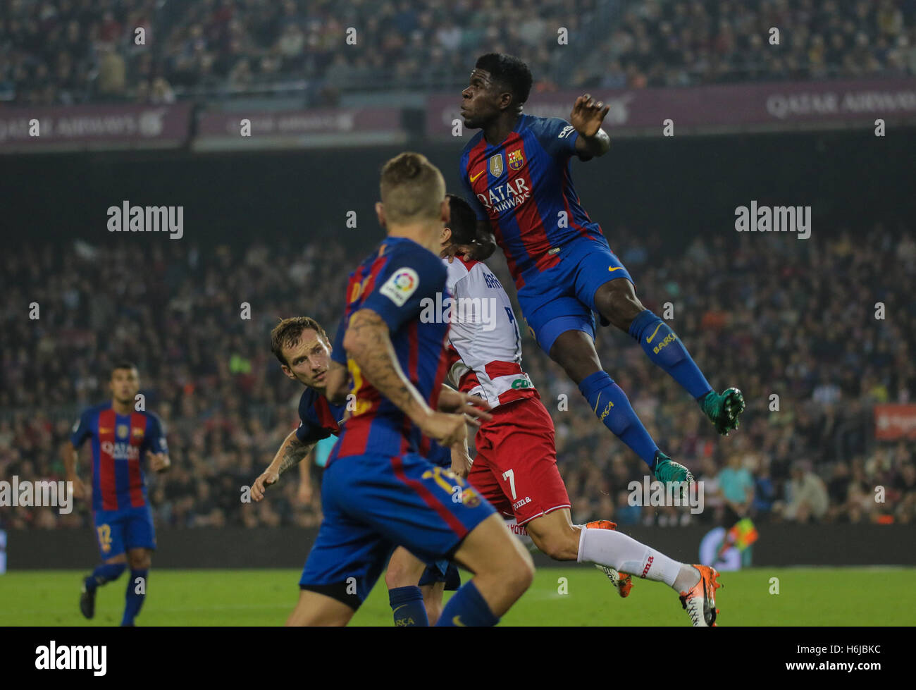 Big jump of Samuel Umtiti. FC Barcelona defeated Granada 1-0 with goal scored by Rafinha at the 47th minute. Liga - Stock Image