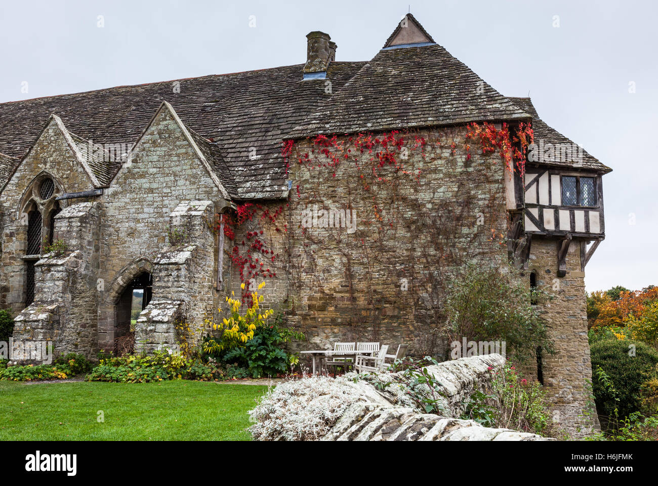 The fortified manor house of Stokesay castle, near Craven Arms, Shropshire, England, UK - Stock Image
