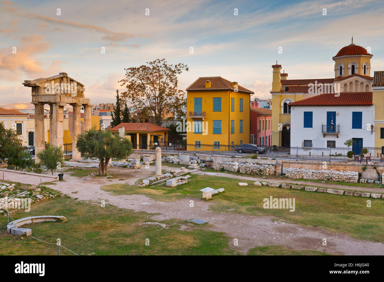 Ancient ruins in city of Athens, Greece. - Stock Image
