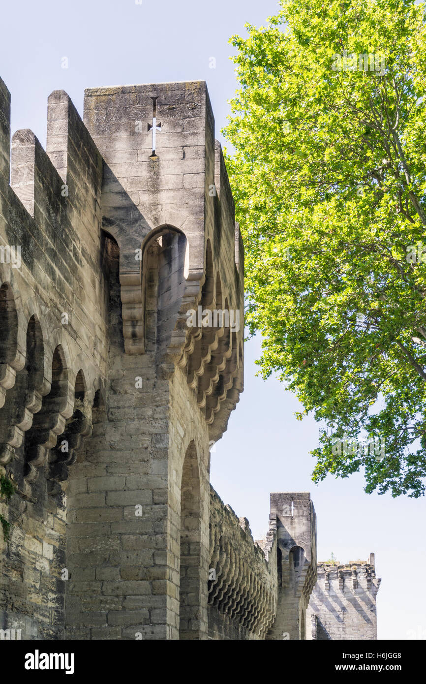 Detail of the western defensive wall and towers, Avignon, France - Stock Image