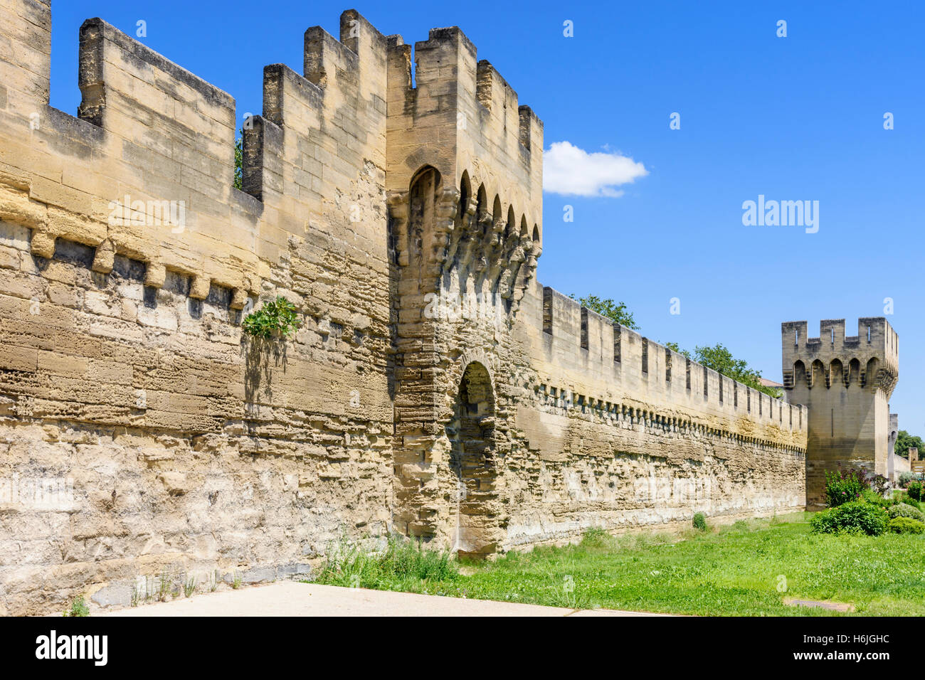 Defensive wall and tower, part of the southern section of the ramparts,  Avignon, France - Stock Image