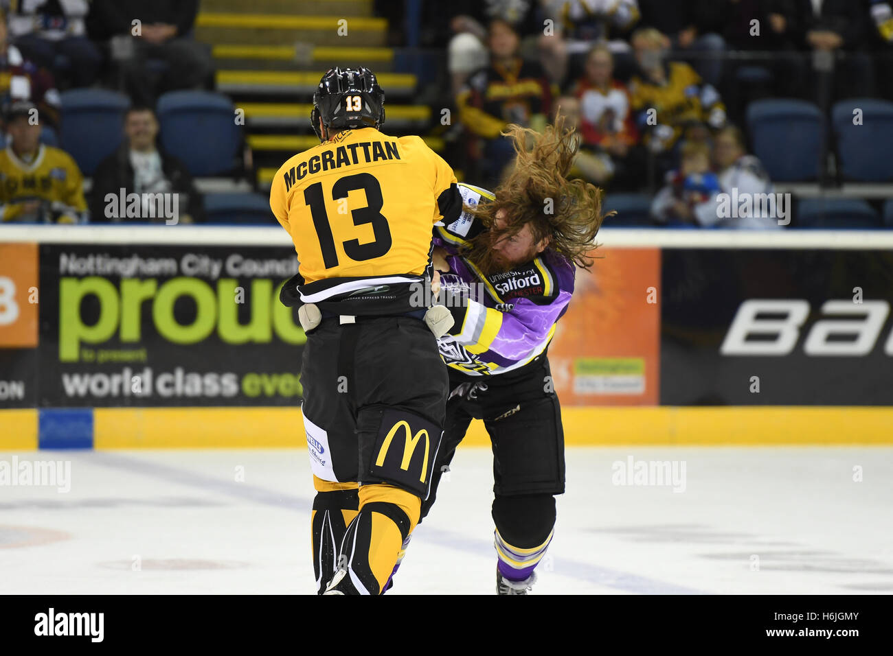 Brian Mcgrattan fights Eric Neilson during the Nottingham Panthers v Manchester Storm EIHL matchup. - Stock Image