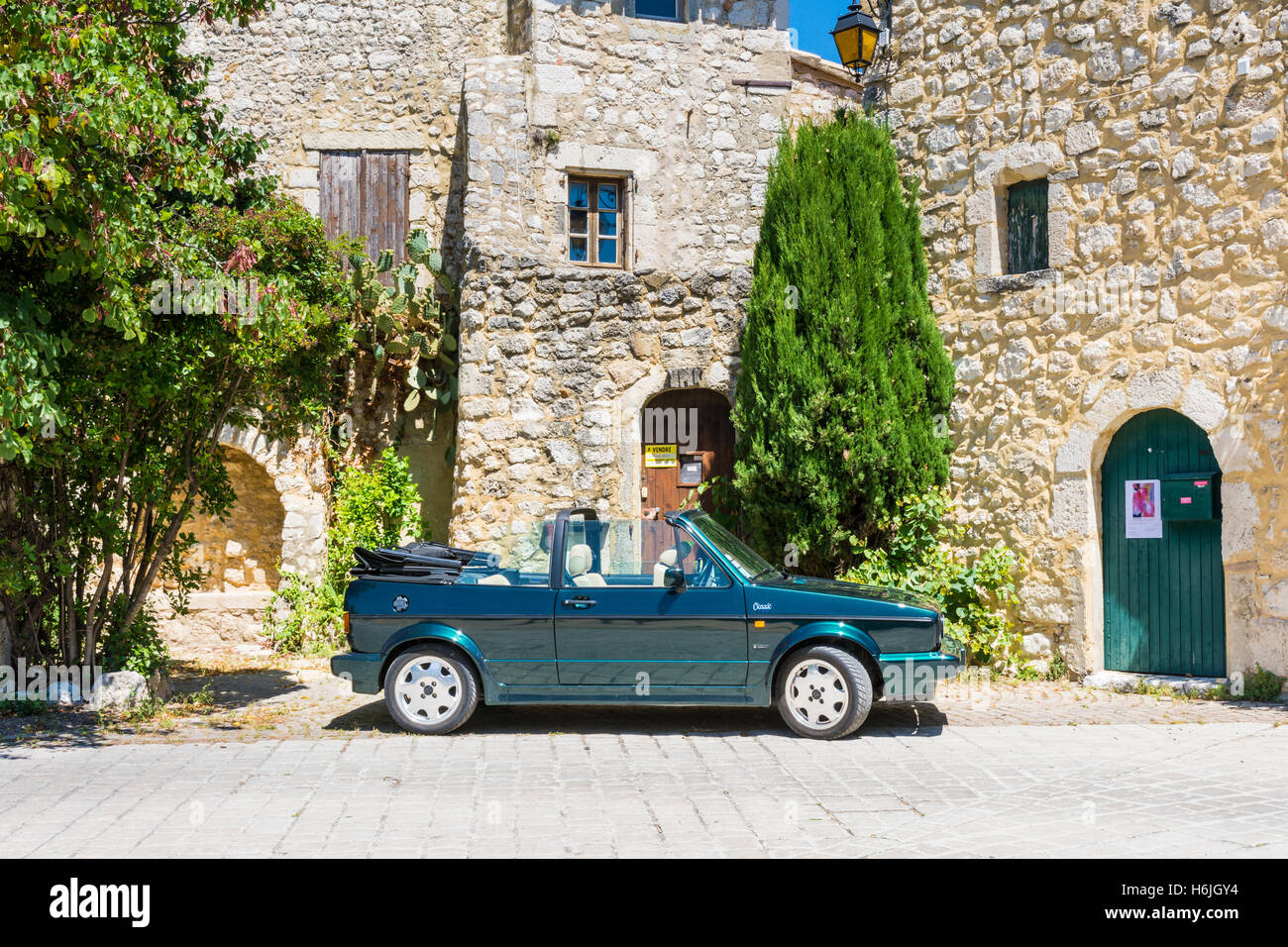 Volkswagen Golf Cabriolet GLI 1.8 Karmann parked in the pretty village of La Garde-Adhémar in Southern France - Stock Image