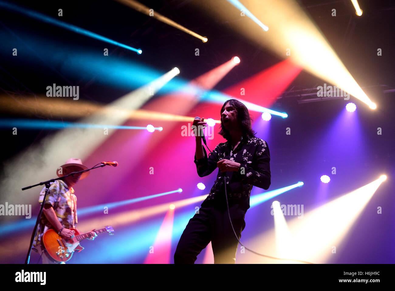 BARCELONA - JUL 4: Primal Scream (band) in concert at Vida Festival on July 4, 2015 in Barcelona, Spain. - Stock Image