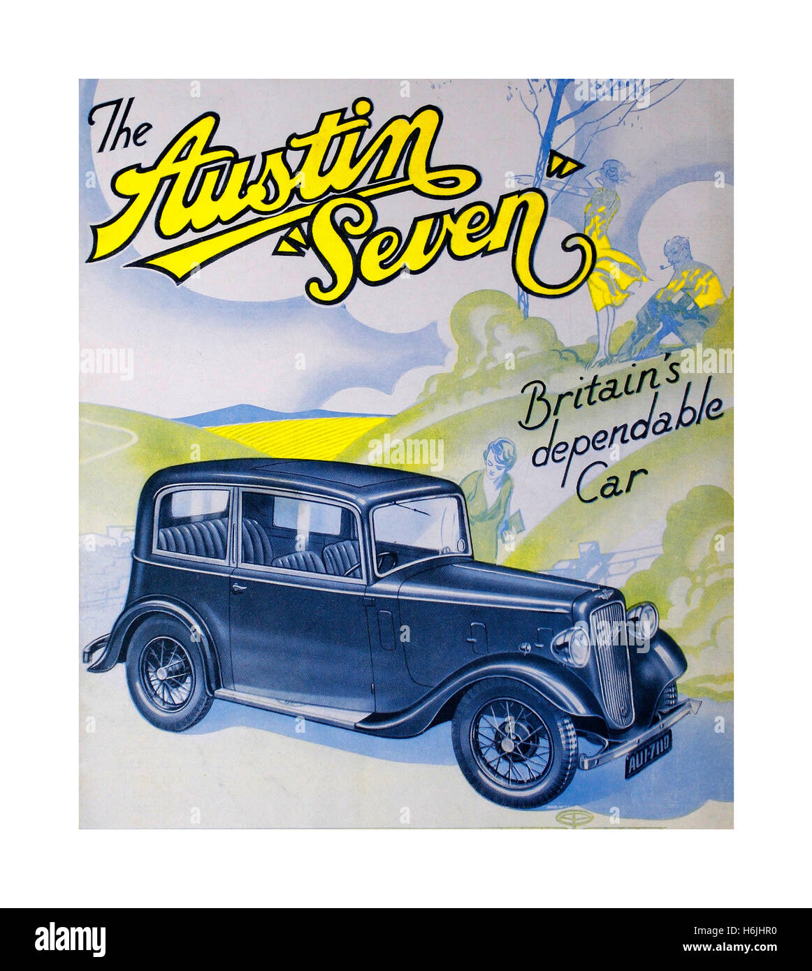 Vintage poster for the Austin 7 an economy saloon car produced from 1922 until 1939 in the United Kingdom by Austin. - Stock Image