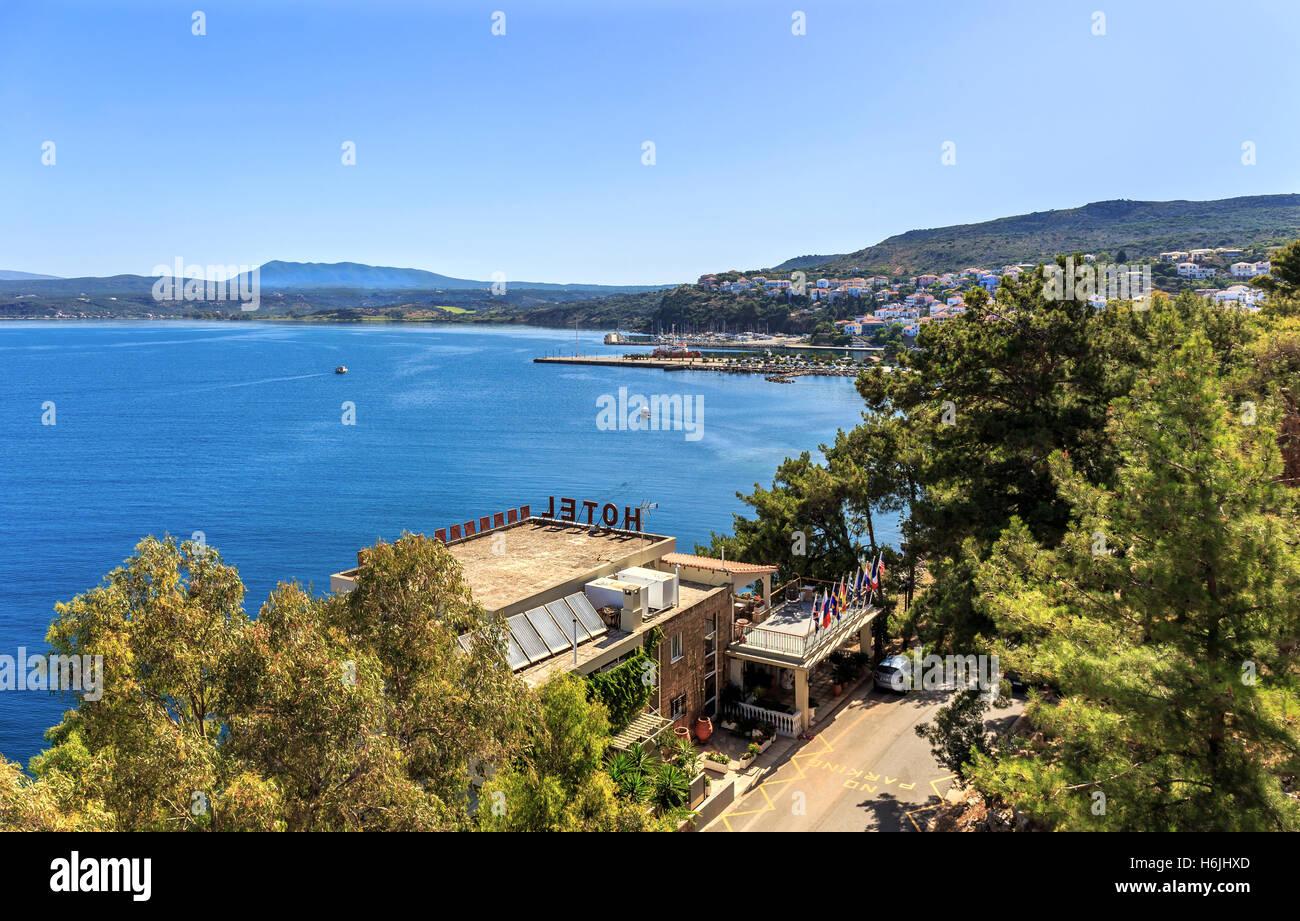 view on Pylos and Navarino bay, Peloponnese - Stock Image