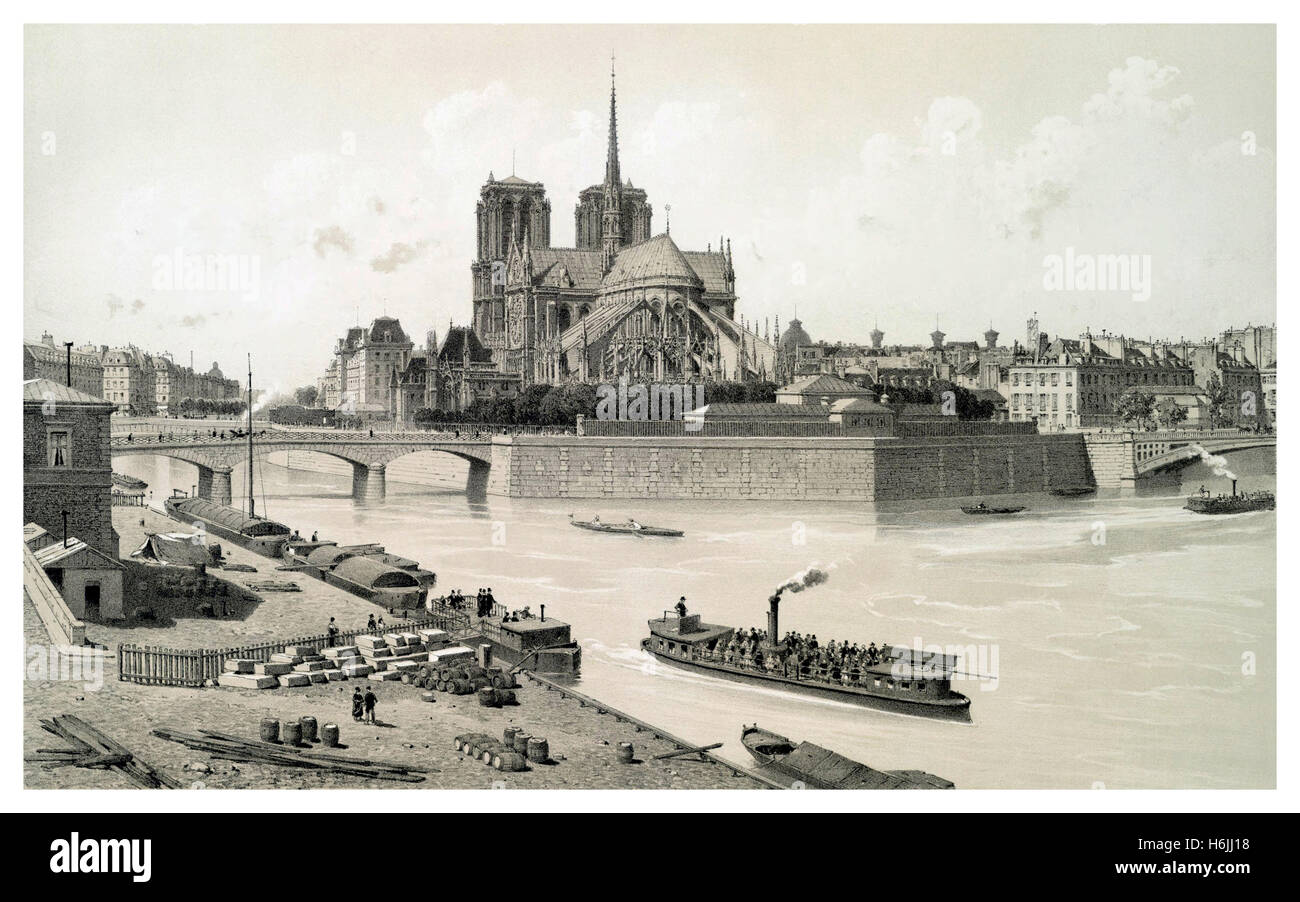 NOTRE DAME HISTORIC VINTAGE ILLUSTRATION Isle de Paris featuring Notre Dame cathedral 1800's with early pleasure - Stock Image