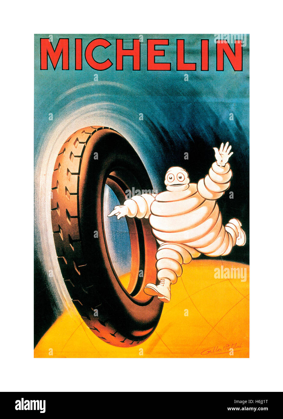 MICHELIN Vintage 1900's poster for Michelin tyres with Michelin Man 'Bibendum' running with car tyre - Stock Image