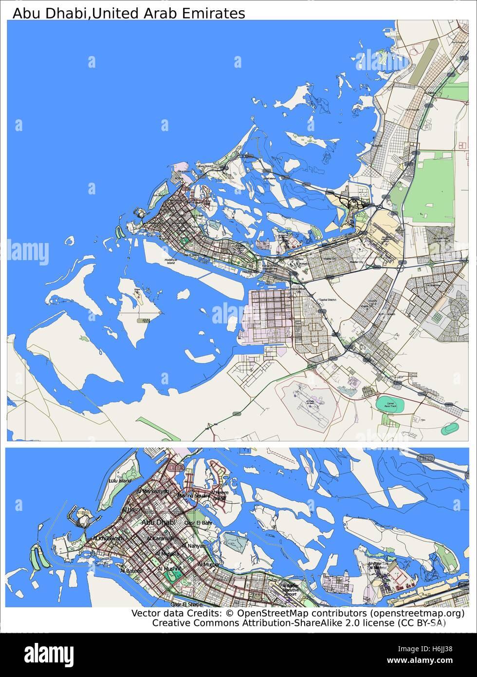 Abu Dhabi Emirates city map Stock Vector Art Illustration Vector