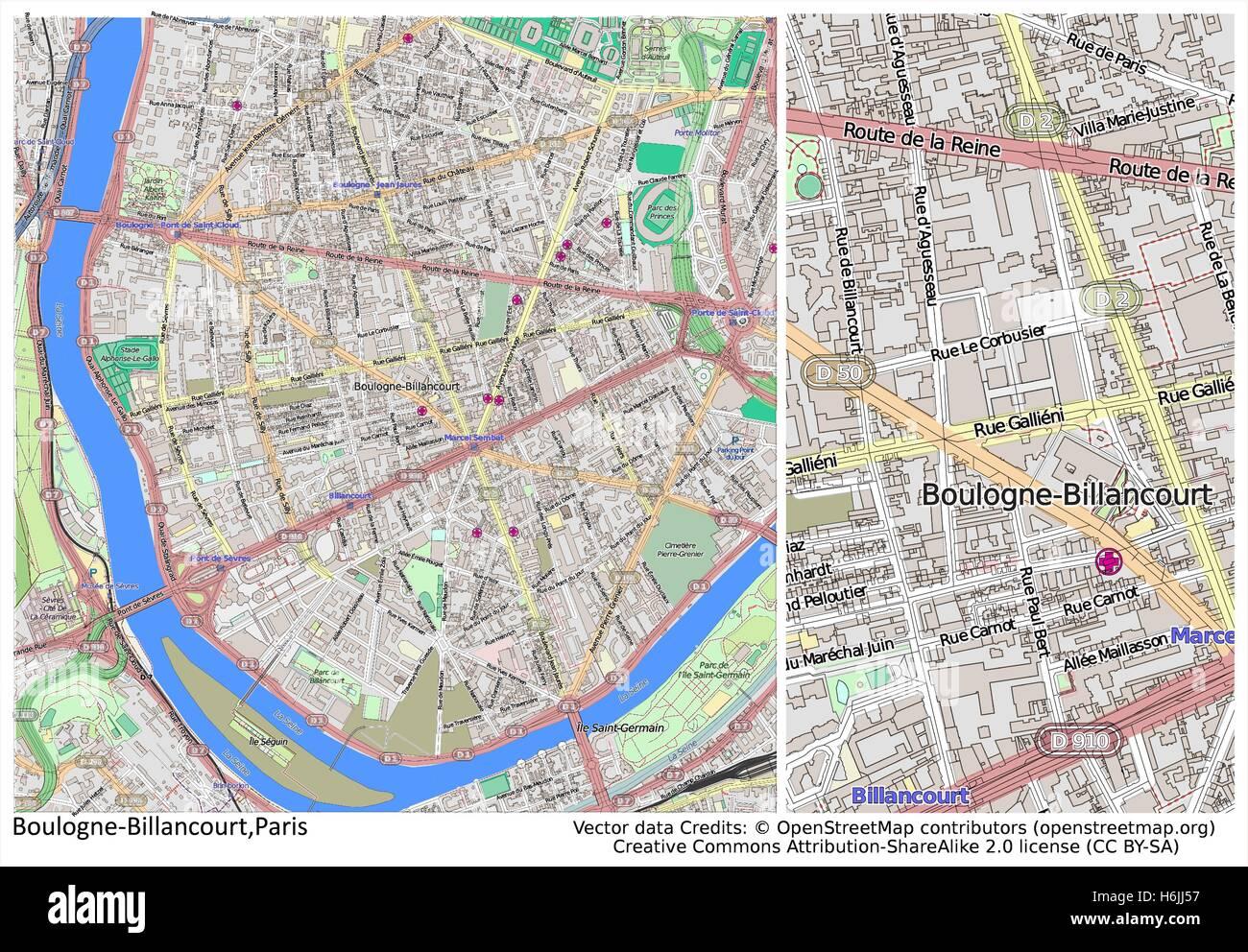 Bolougne Billancourt Paris France city map Stock Vector