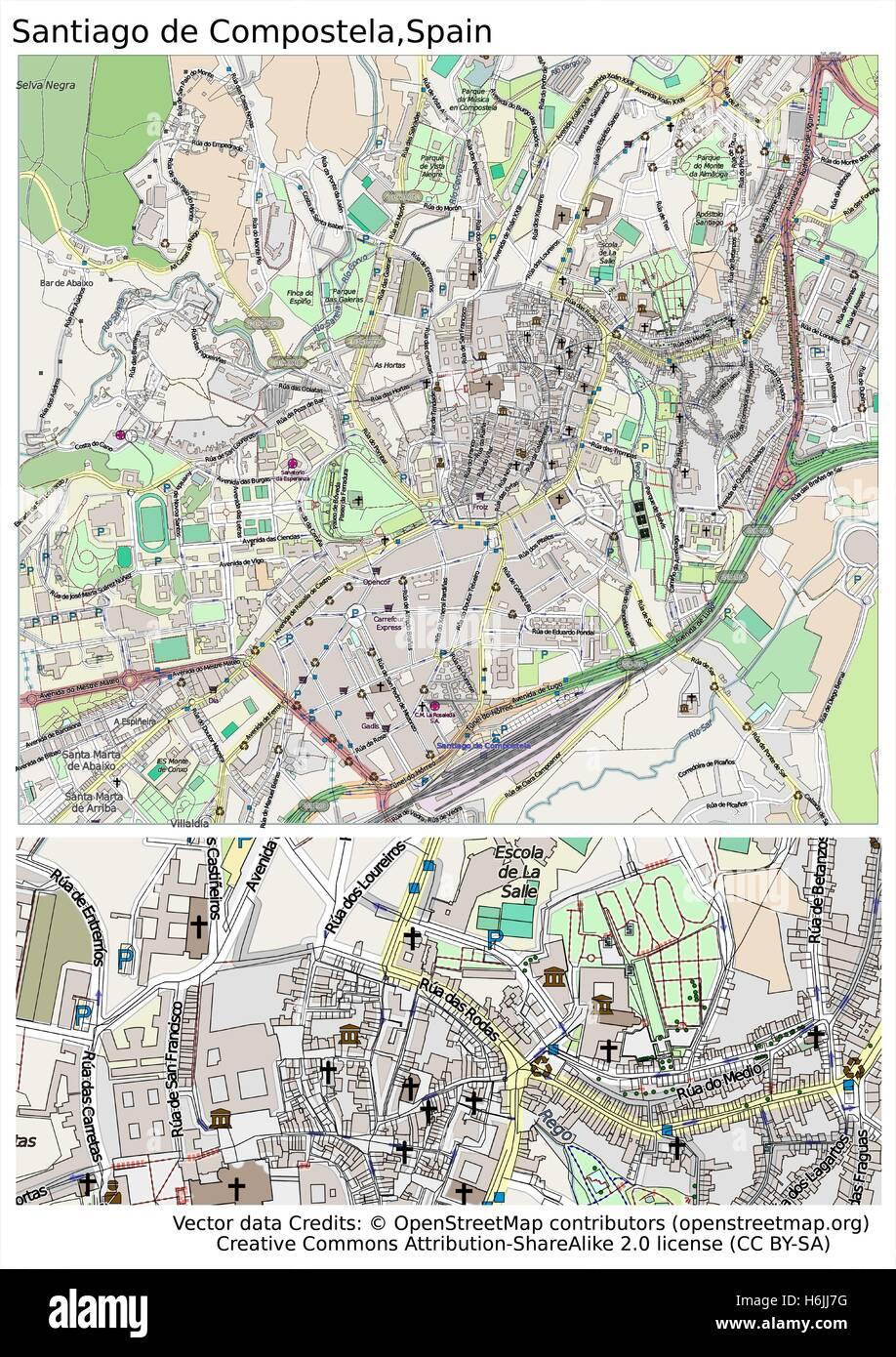 Santiago De Compostela Spain City Map Stock Vector Art