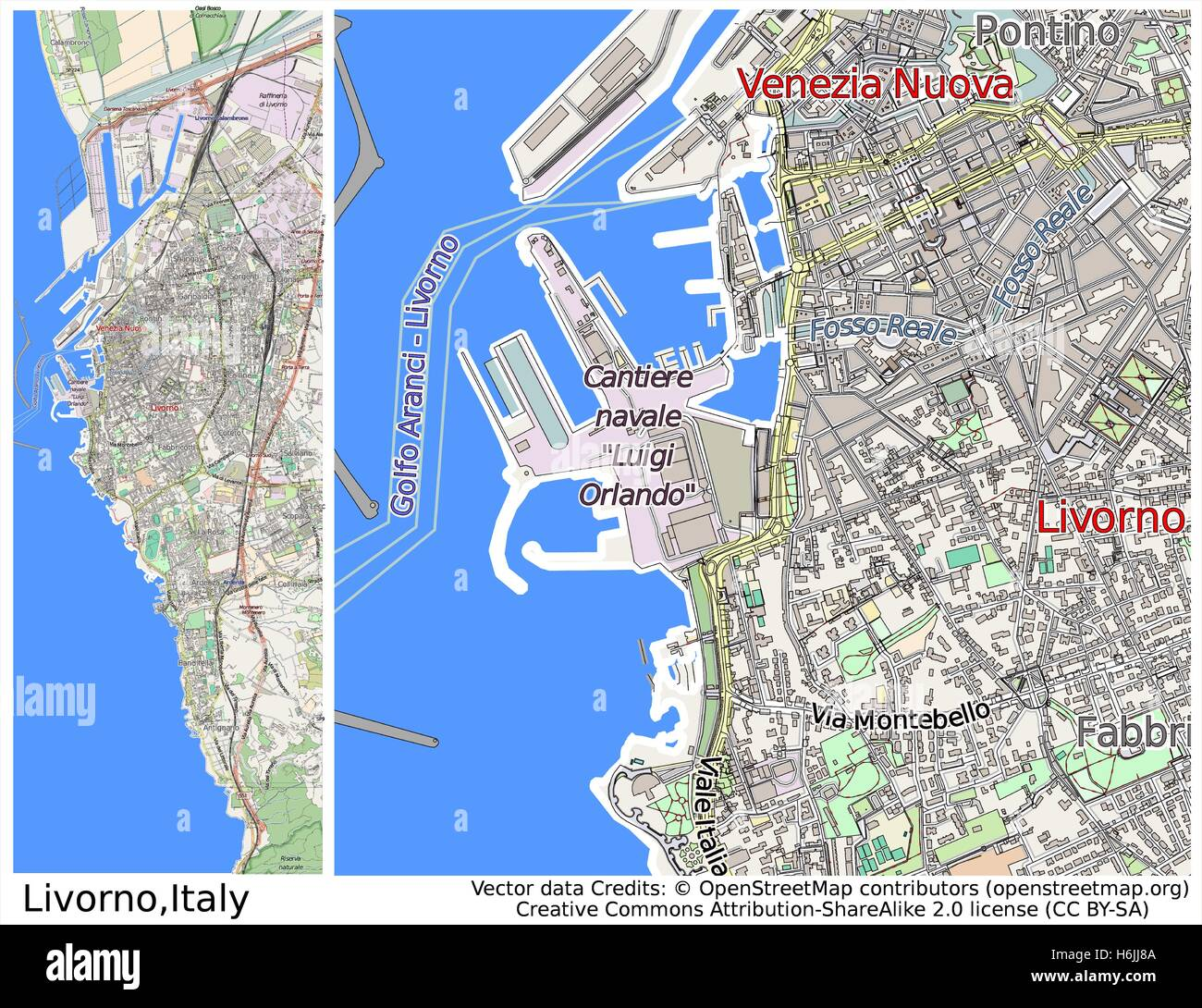 Livorno Italy city map Stock Vector Art Illustration Vector Image
