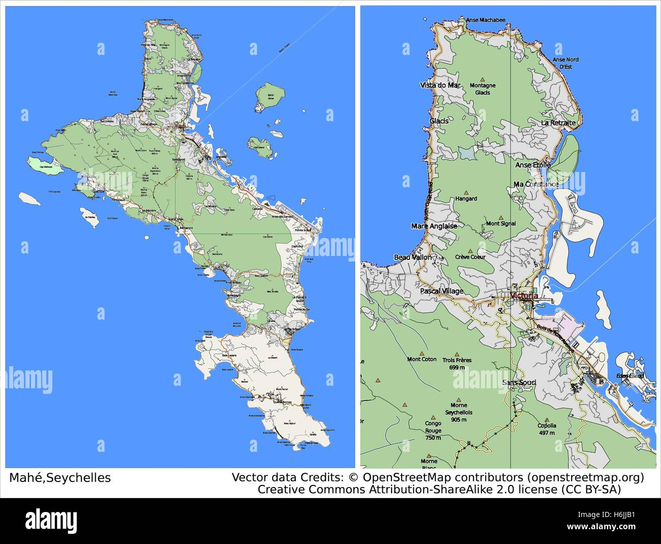 Victoria Mahe Seychelles City Map Stock Vector Art