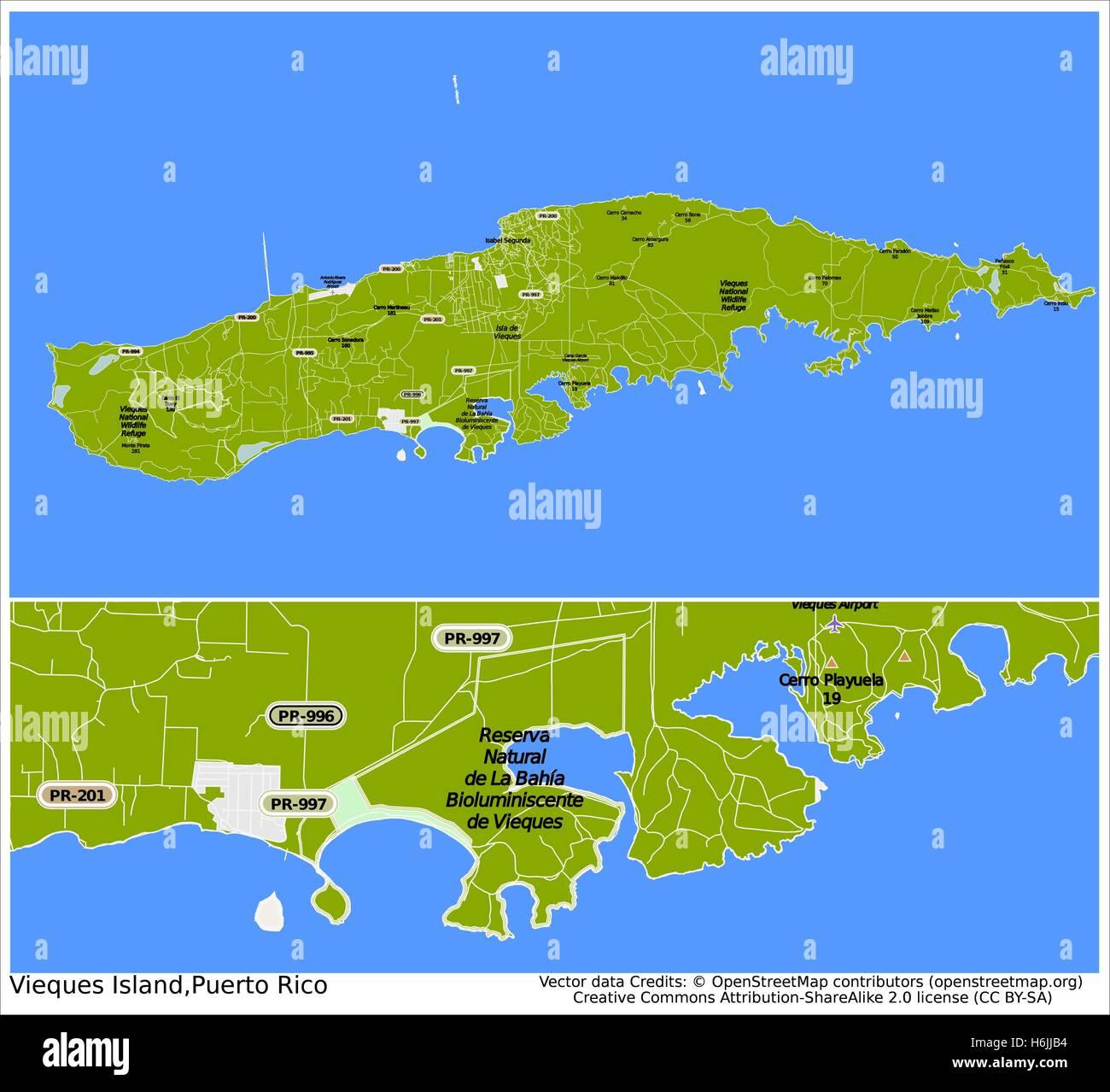 Vieques Puerto Rico city map Stock Vector Art & Illustration ...