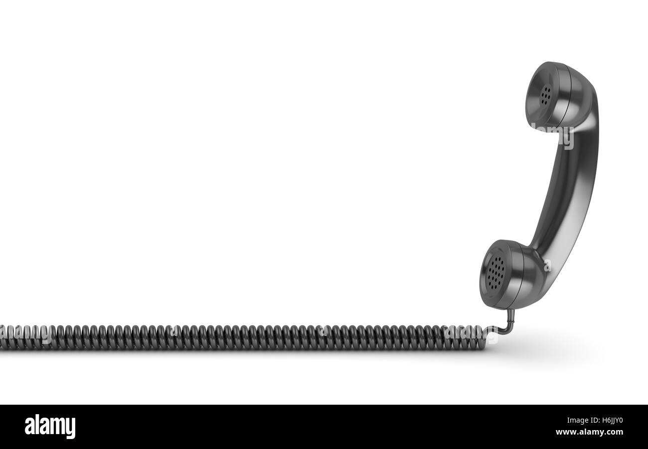 Black handset on a white background , This is a 3d rendered computer generated image. Isolated on white. - Stock Image