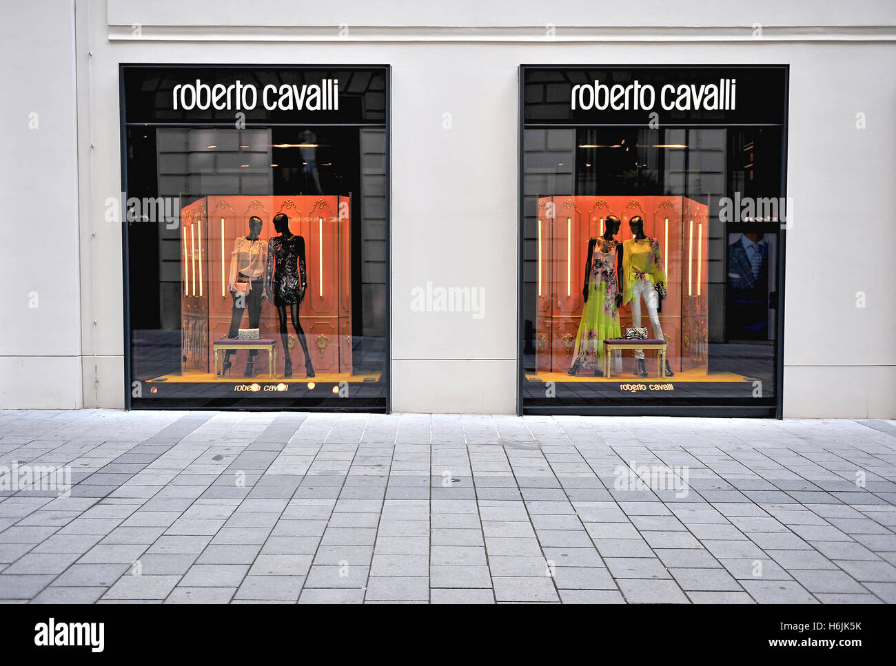 VIENNA, AUSTRIA - JUNE 6: Facade of Roberto Cavalli flagship store in Vienna on June 6, 2016. Roberto Cavalli is a world famous Stock Photo