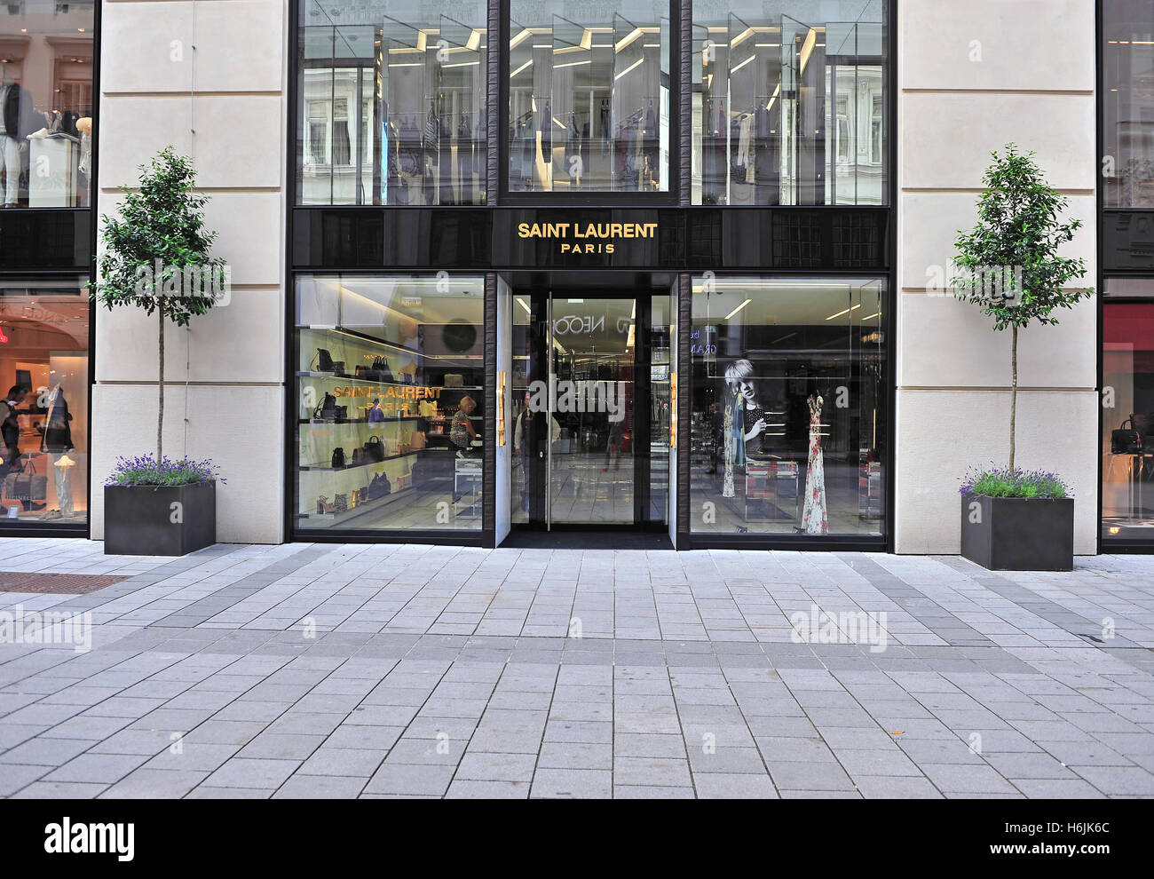 vienna austria june 6 saint laurent flagship front store in stock photo 124570724 alamy. Black Bedroom Furniture Sets. Home Design Ideas